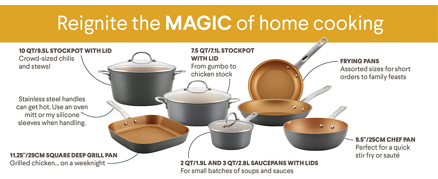 cookware, pots and pans, nonstick pan, hard anodized pots and pans