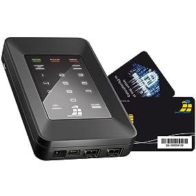 Externe verschlüsselte USB-Festplatte HS128 mit Chipkarte, PIN, sicher verschlüsselt portabel
