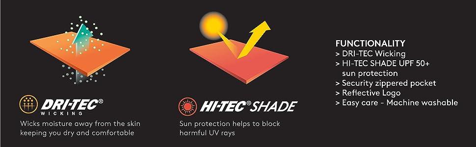 Dri tec wicking Shade UPF sun block sun screen UV RAY Skin protection damage shade
