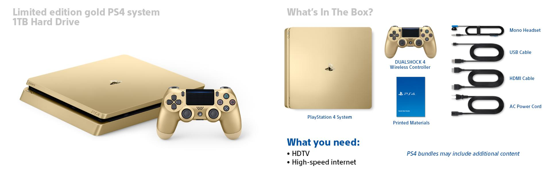 Amazon com: PlayStation 4 Slim 1TB Gold Console