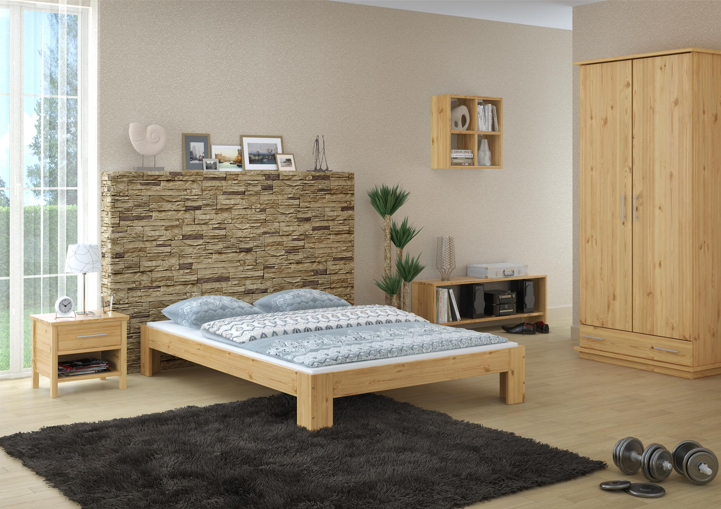 erst holz franz sisches bett 140 x 200 cm kiefer massiv mit rollrost k che. Black Bedroom Furniture Sets. Home Design Ideas