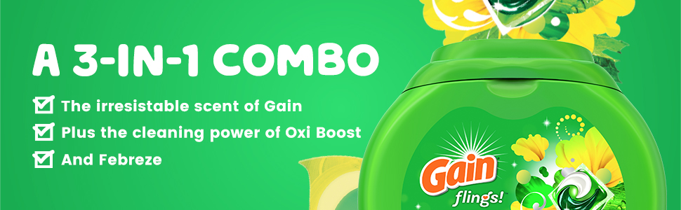 Gain Flings A3 in 1 combo. Irresistible scent of Gain + the cleaning power of Oxi Boost and Febreze