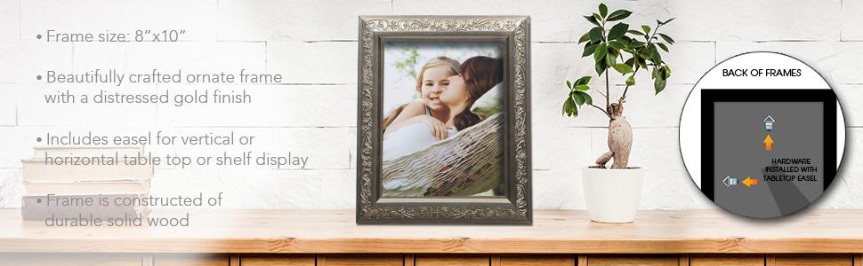 Gold 8x10 Frame, Gold Picture Frame, Gold 8 X 10 Frame, Gold Tabletop