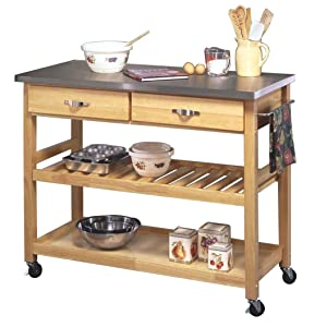 Charmant Stainless Steel Top Kitchen Cart, Natural Finish