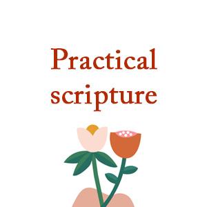"""Practical scripture"" cartoon image of 2 flowers"