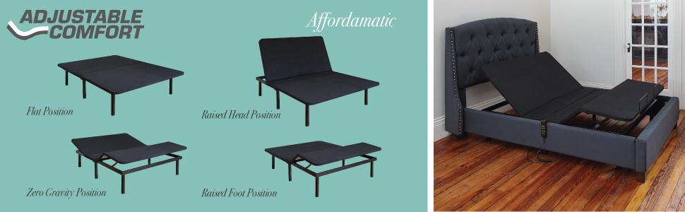 adjustable bed,adjustable comfort, bed base, ergonomic bed base, adjustable bed frame, tempur-pedic