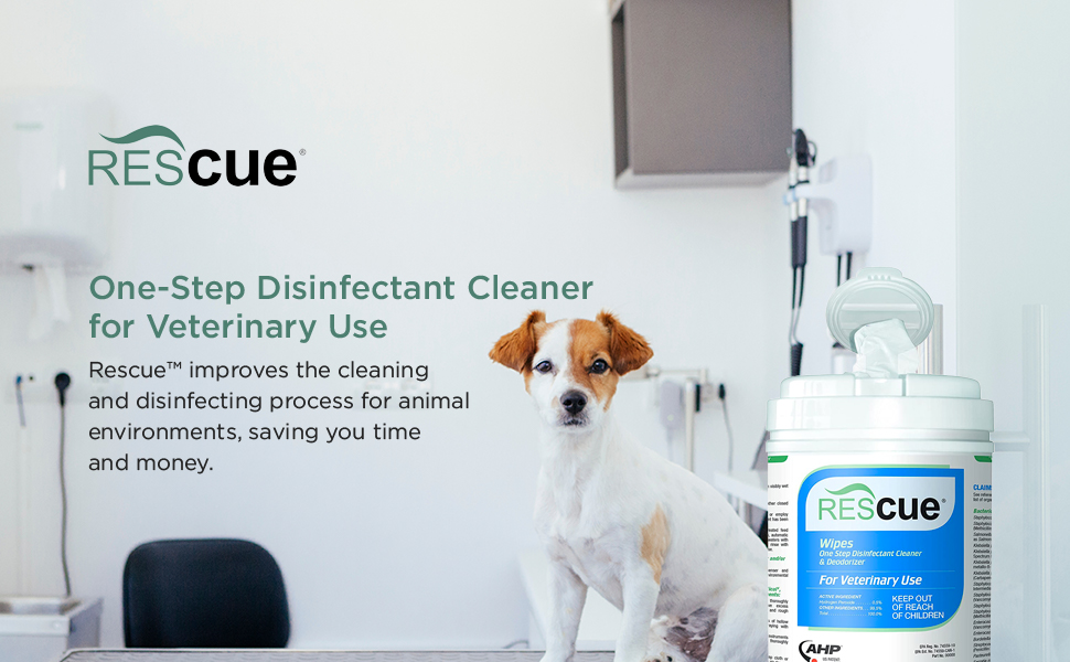 Rescue One-Step Disinfectant Cleaner for Veterinary Use - Wipe
