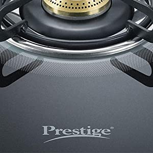 Prestige Royale Plus Schott Glass 2 Burner Gas Stove, Manual Ignition, Black SPN-FOR1
