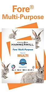 Ream of Hammermill Fore Multi-Purpose 20lb letter size print and copy paper, 500 sheets, Made in USA