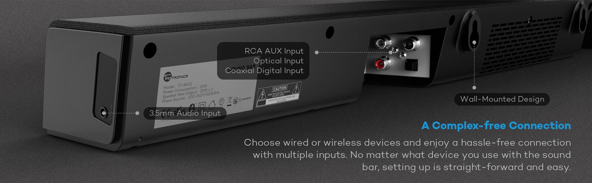 Amazon.com: Soundbar, TaoTronics Sound Bar Wired Wireless Bluetooth ...