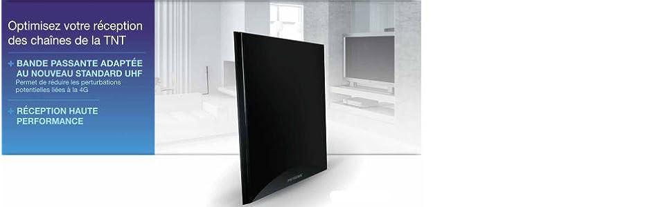 Metronic 416975 - Antena de Interior TV TDT-TDT T2, HD, amplificada, Ganancia 55dB, Extra Plana, 4K, Compatible 4G