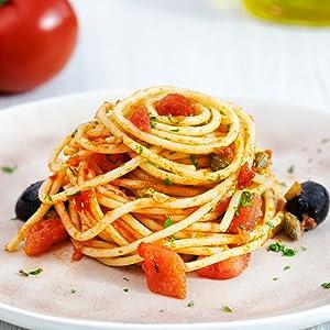 Spaghetti Puttanesca with Basilico Sauce