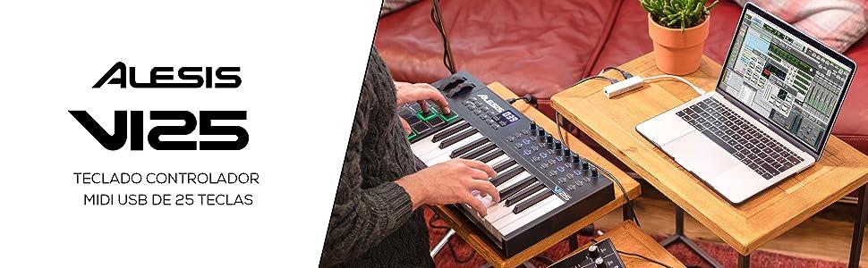 Alesis VI25 - Teclado Controlador MIDI USB de 25 Teclas con 16 Pads, 8 Mandos y 24 Botones Todos Asignables, Salida MIDI de 5 Puntas y un paquete de ...