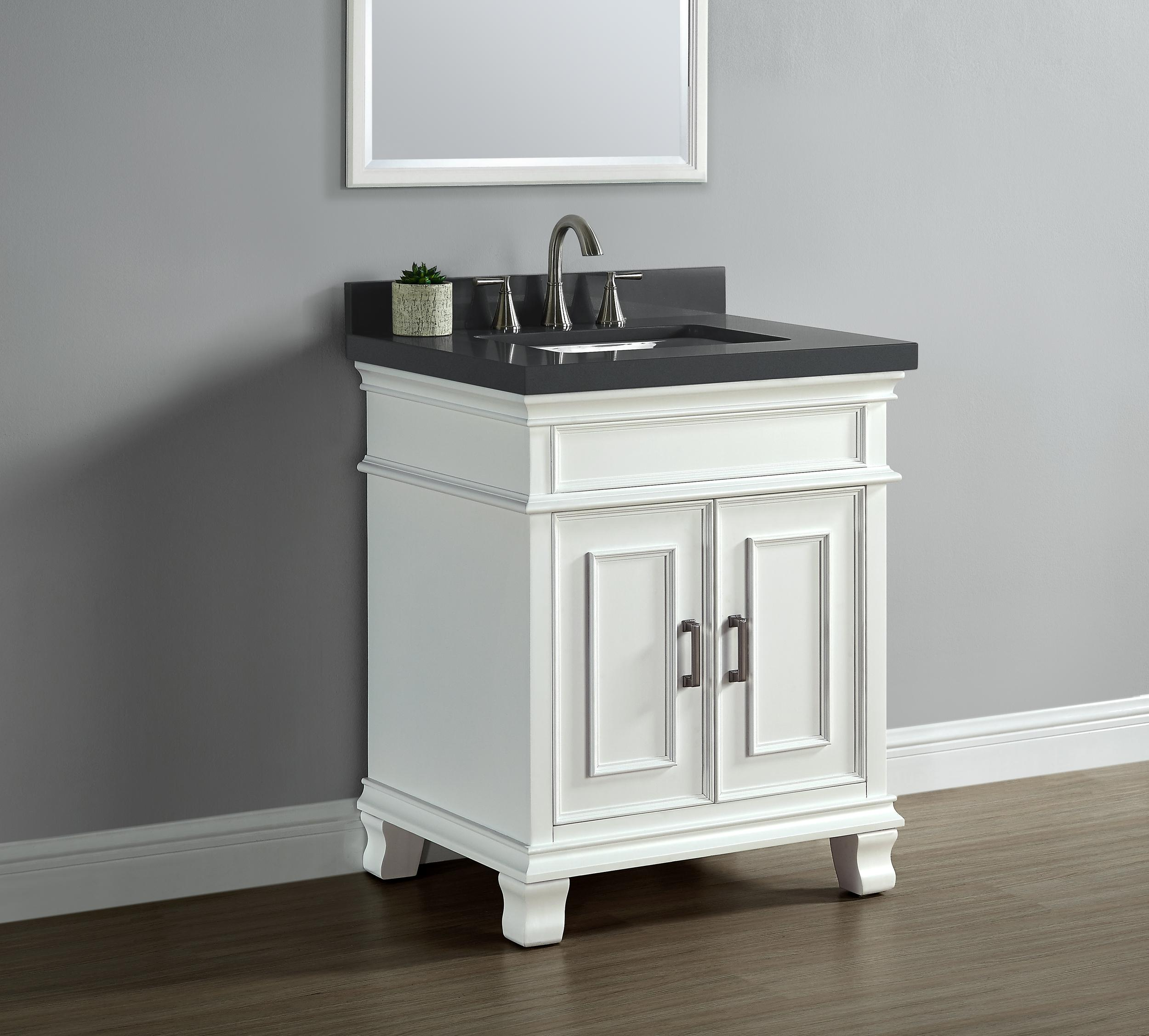 Mission hills 28 single sink middleton vanity for 2 inch quartz countertop
