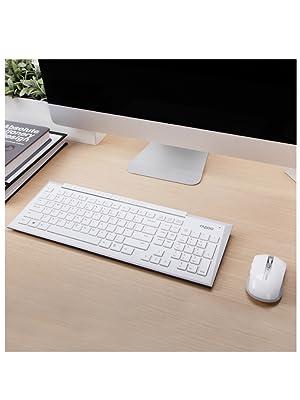Rapoo 8200P kabelloses optisches Set aus Tastatur und Maus, 5 GHz Wireless Verbindung, 1000 DPI HD Sensor, weiß