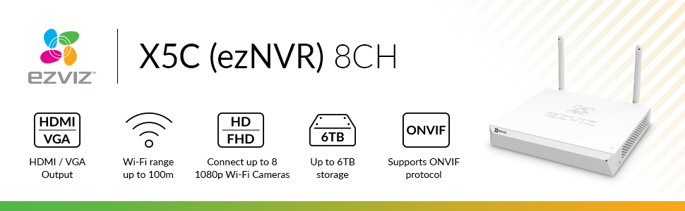 EZVIZ ezNVR 8CH - 1080P, 8 Channel WiFi Network Video Recorder, Supports up  to 6TB HDD or SSD, HDMI and VGA Output, ONVIF (UK PLUG)