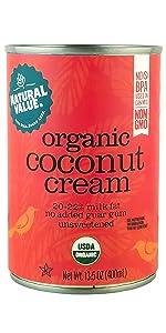 organic natural value coconut cream