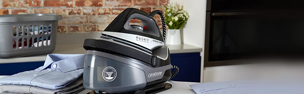 Tower Steam Generator Iron with Non-Stick Ceramic Soleplate, Adjustable  Thermostat Control, Variable Settings, Three Bar Pressure, 100 g/min Steam