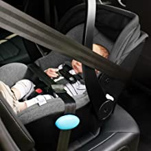 The Liing infant seat is safe on-the-go in taxis or for air travel on planes using belt-only install