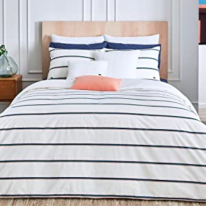 lacoste pensway comforter duvet cotton cover soft stripe line gray white bedroom bed guestroom