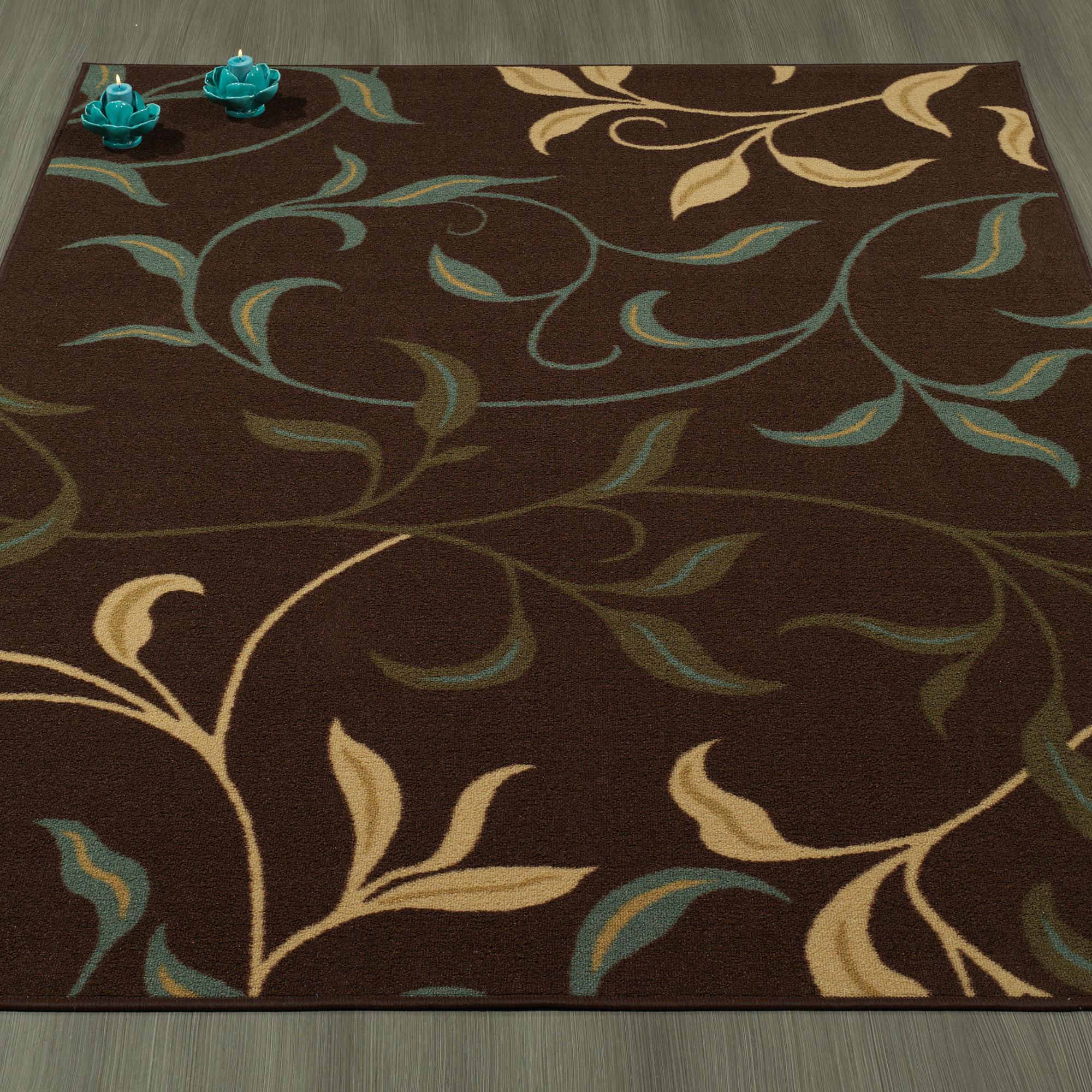 Amazon Com Ottomanson Ottohome Contemporary Leaves Design