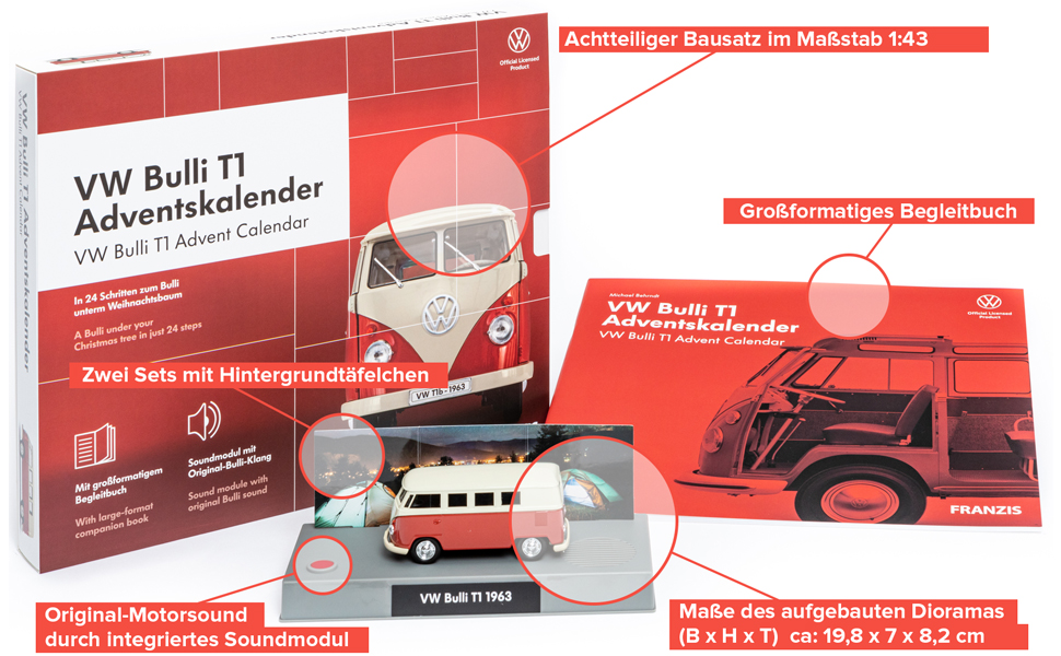 Franzis Adventskalender Volkswagen VW Bulli T1 2020 Modellauto Maßstab 1:43 NEU