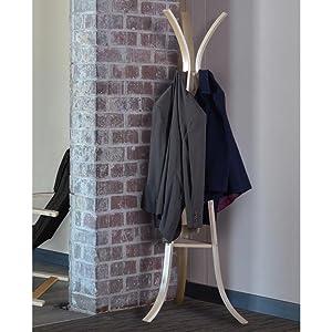 regency, niche, mia, coat rack, costumer, hall tree, natural, bentwood, brick wall, coats, jacket,