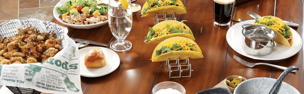 get, drinkware, dinnerware, taco holder, basket, food, paper liner, plate, bowl, melamine, plastic