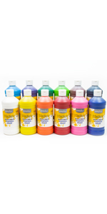Little Masters, Washable Tempera Paint Set, Primary and Secondary Paint, Set of 12