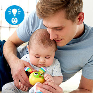 Baby's portable playtime pal for singing, dancing, moving & grooving on the go!