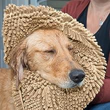 furhaven; properties; absorbent; towel; drying off; wet; dog; sand; tan