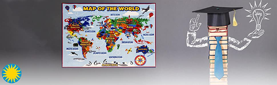 Smithsonian Rug World Map Learning Carpets Bedding Play