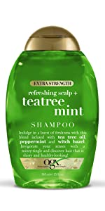 Extra Strength Refreshing Scalp + teatree mint shampoo with tea tree oil, peppermint, witch hazel