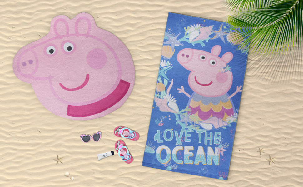 Toalla peppa pig;Chanclas peppa pig;Gorra peppa pig;Toalla de piscina peppa pig;Toalla de playa niña