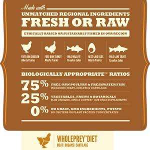 ACANA Wild Prairie ofrece 5 carnes en proporciones de WholePrey carne, órganos y cartílago