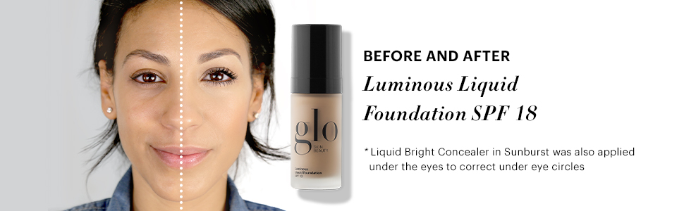 Before and After image of Luminous Liquid Foundation applied to model