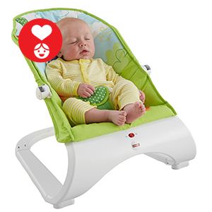 A modern bouncer with calming vibrations, a comfy seat and overhead toys!