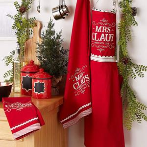 kitchen decor,dishtowels,cloths,mrs clause,mr clause,cookie jar