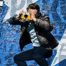 camera yellow shot boy