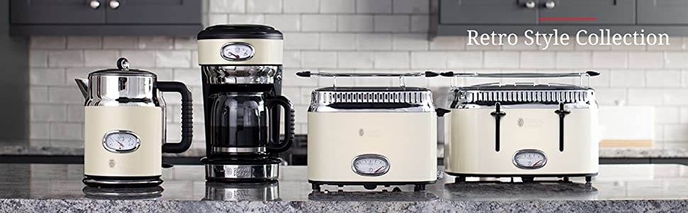 Russell Hobbs CM3100CRR Retro Style Coffeemaker, 8-Cup, Cream