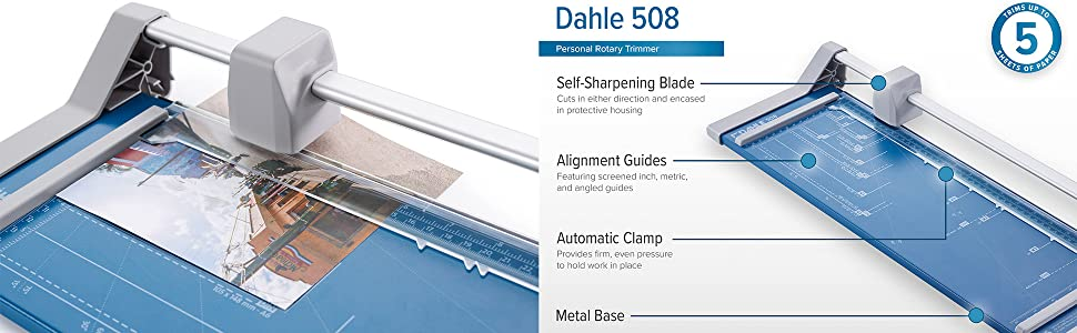self-sharpening, trimmer, paper trimmer, paper cutter, rotary trimmer, dahle, dahle 507, dahle 508