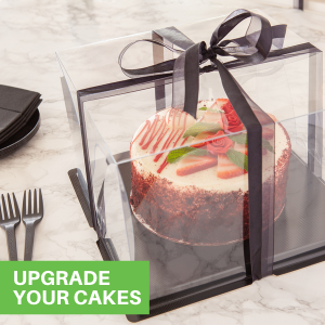 Each disposable cake carrier comes with a chic ribbon that enhances your cake presentations.