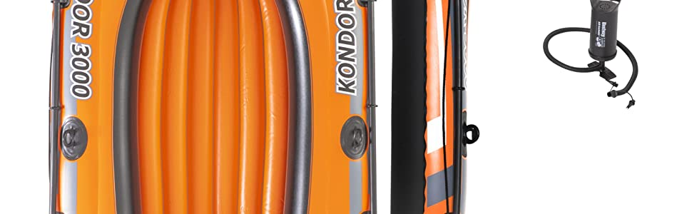Bestway 2.28M Inflatable Kondor 3000 Boat Set Outdoor Pool Lake Rubber Dingey