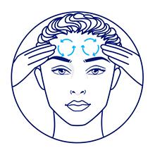 Ilustração de mulher aplicando o creme na testa