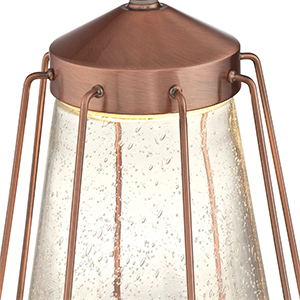 Washed copper finish slanted top with 6 metal bars around clear seeded glass.