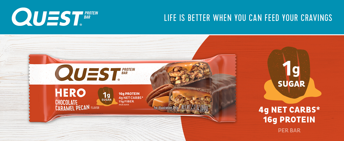 Amazon.com: Quest Nutrition Pecan Hero Protein bar, Low Carb, Gluten Free, Chocolate Caramel,10 Count: Health & Personal Care
