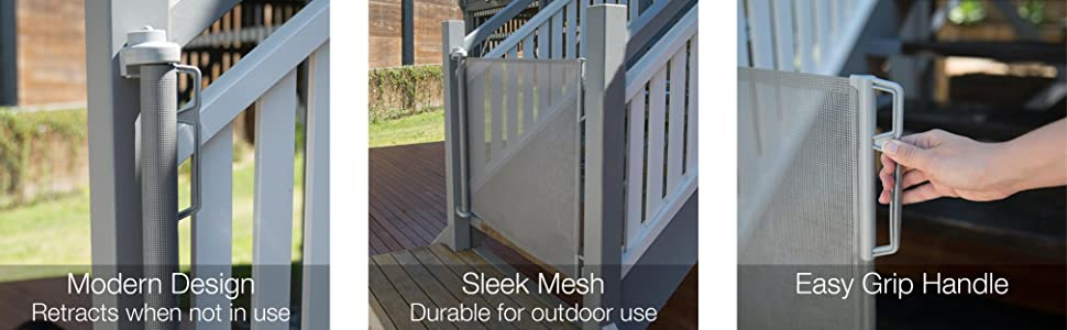 Product Features: Indoor & Outdoor use, retracts when not in use, Dual action lock, easy grip handle