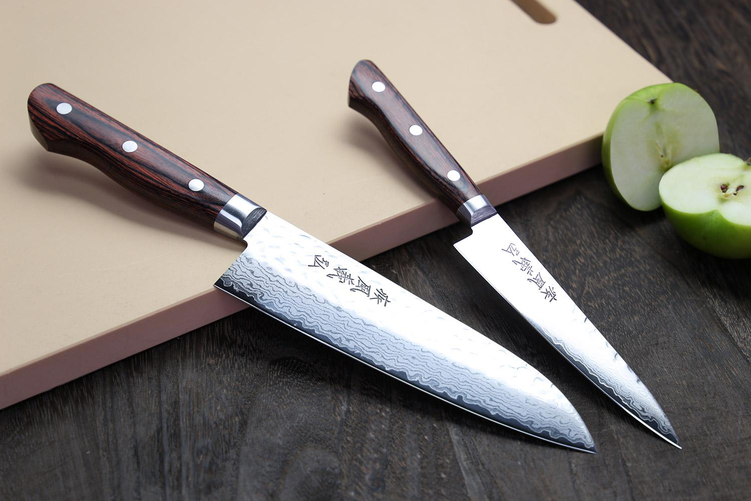 yoshihiro vg10 hammered damascus stainless japanese chefs knife santoku 7inch and. Black Bedroom Furniture Sets. Home Design Ideas
