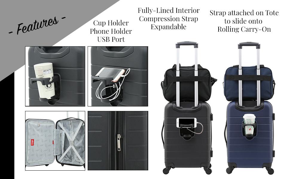 wrangler, cup holder, USB port, phone holder, carry-on, travel, tote bag, spinnerwheels, lightweight