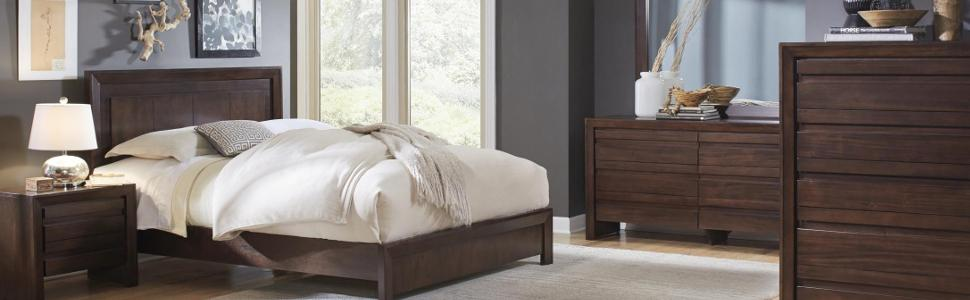 4 Piece Modus Kentfield Solid Wood Bedroom Set: Amazon.com: Modus Furniture Element Nightstand, Chocolate